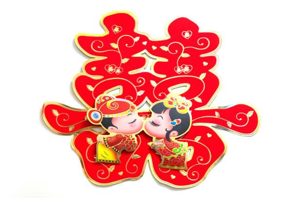 Chinesische Hochzeitsprodukte, doppelte Glücksworte auf weißen Wänden – Foto