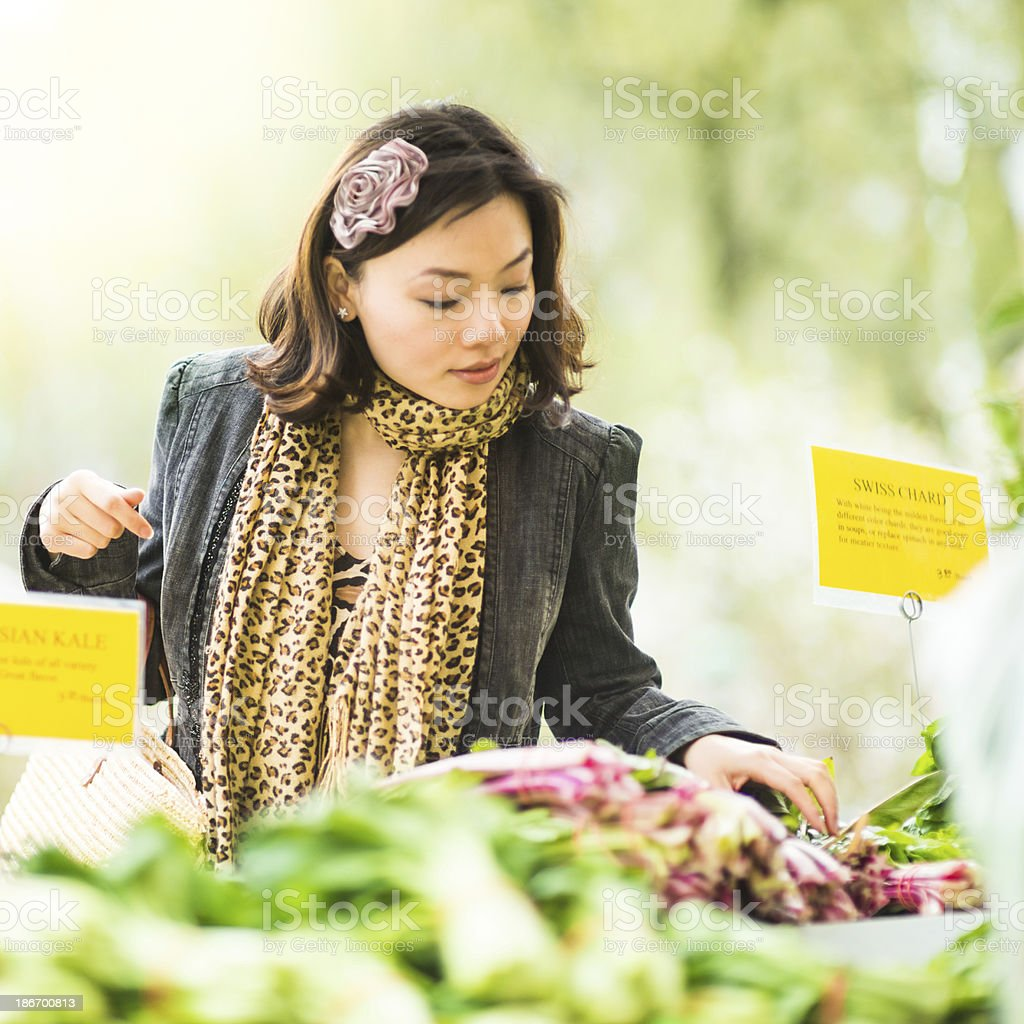 Chinese Woman in Farmers Market royalty-free stock photo