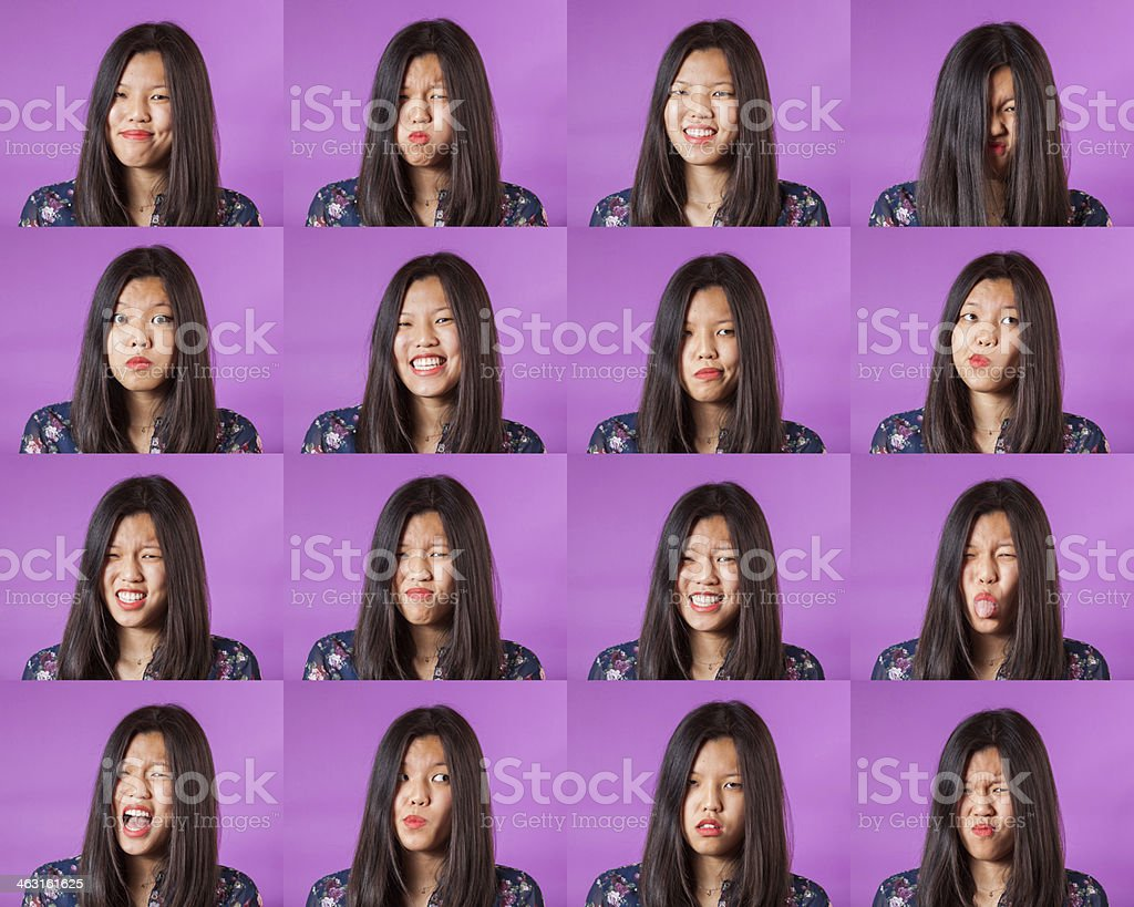 Chinese Woman Multiple Portraits stock photo
