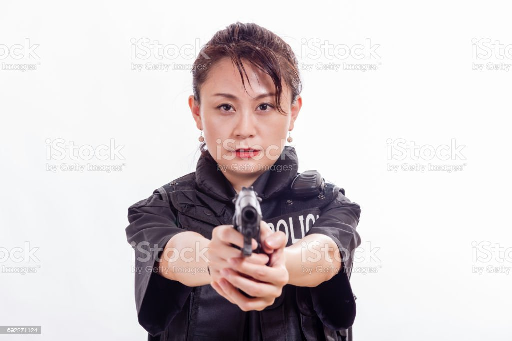 Chinese Woman Police Officer Pointing Pistol Stock Photo & More