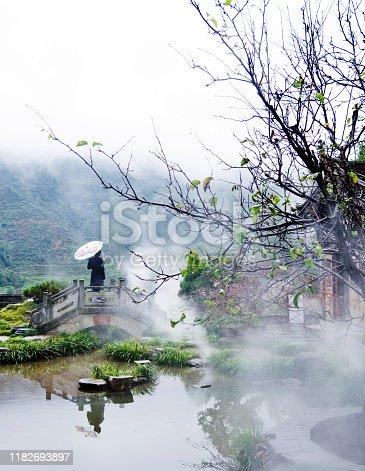 Chinese woman standing on bridge of lake