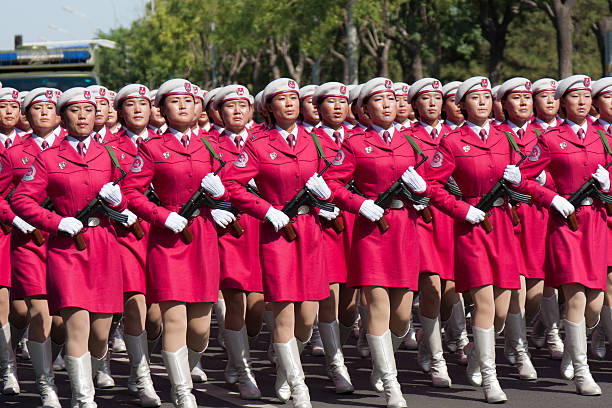 chinese women militia soldiers marching of the military parade - chinese military bildbanksfoton och bilder