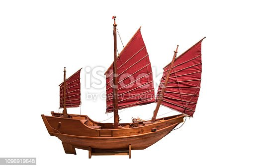 Chinese wooden sailing boat isolated on white