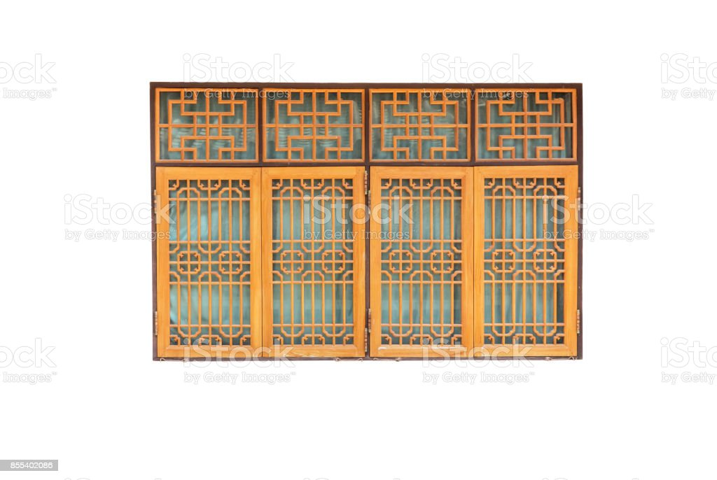 Chinese wooden window on white background with clipping path. stock photo