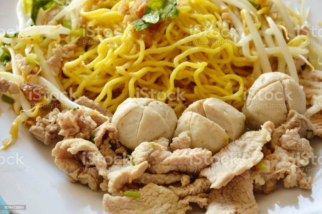 Chinese yellow noodle with pork ball 免版稅 stock photo