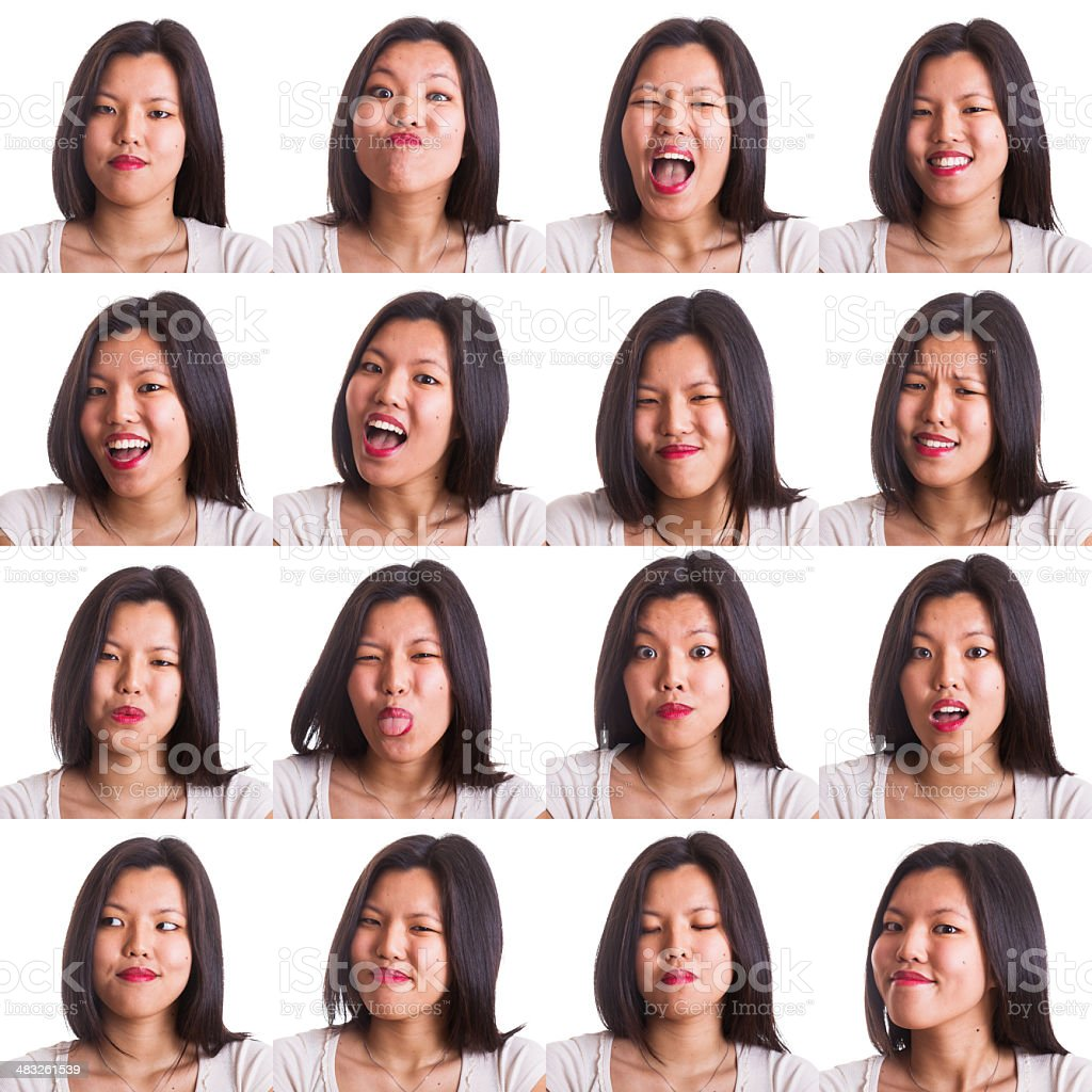 Chinese Young Woman Collection of Expressions stock photo