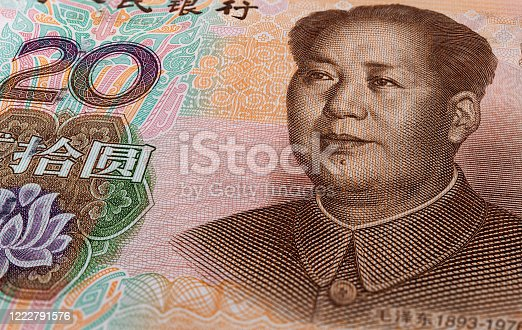 Macro photography of 20 yuan of the peoples republic of china. Close up to 20 renminbi with the portrait of Mao Zedong. Extreme microscopic capture of a Chinese banknote. China currency