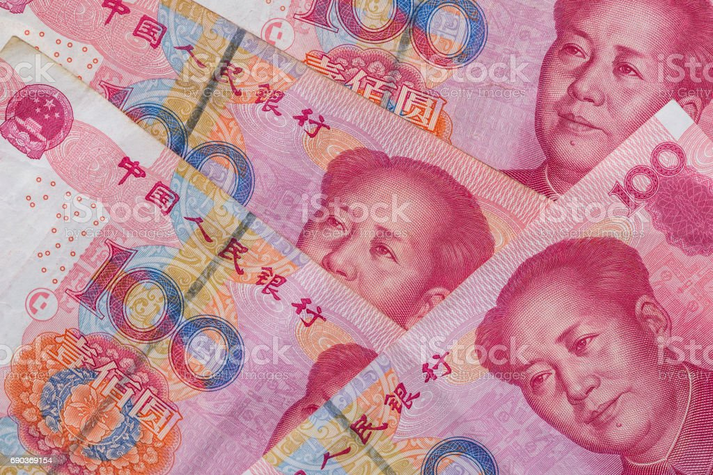 100 Chinese Yuan. close up stock photo