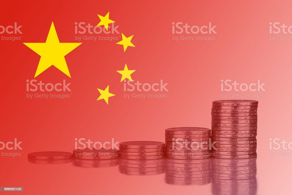 Chinese Yuan Coin Compound Interest Concept stock photo