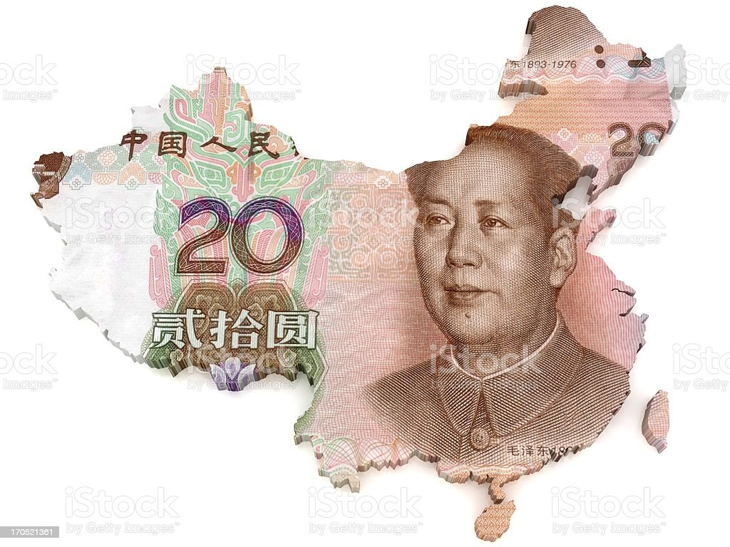 Chinese Yuan map stock photo