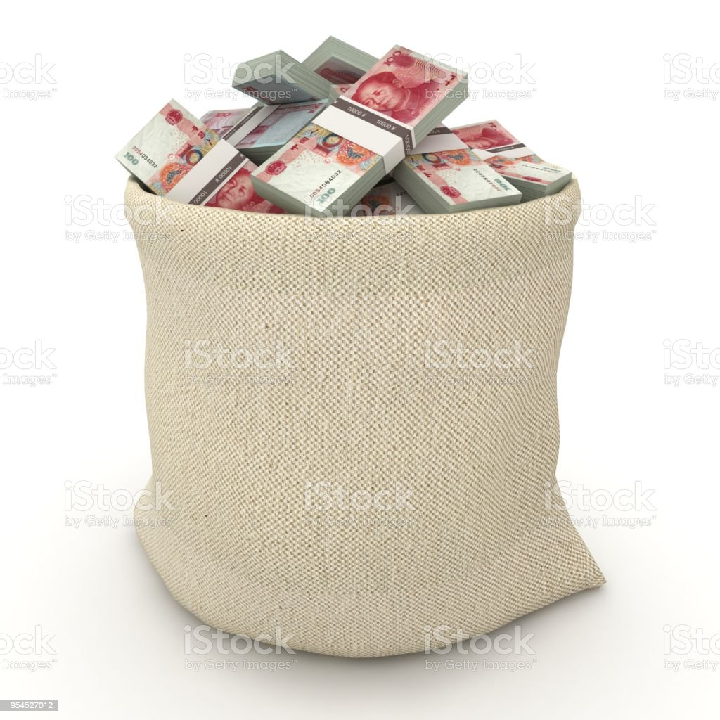 Chinese Yuan money bag stock photo