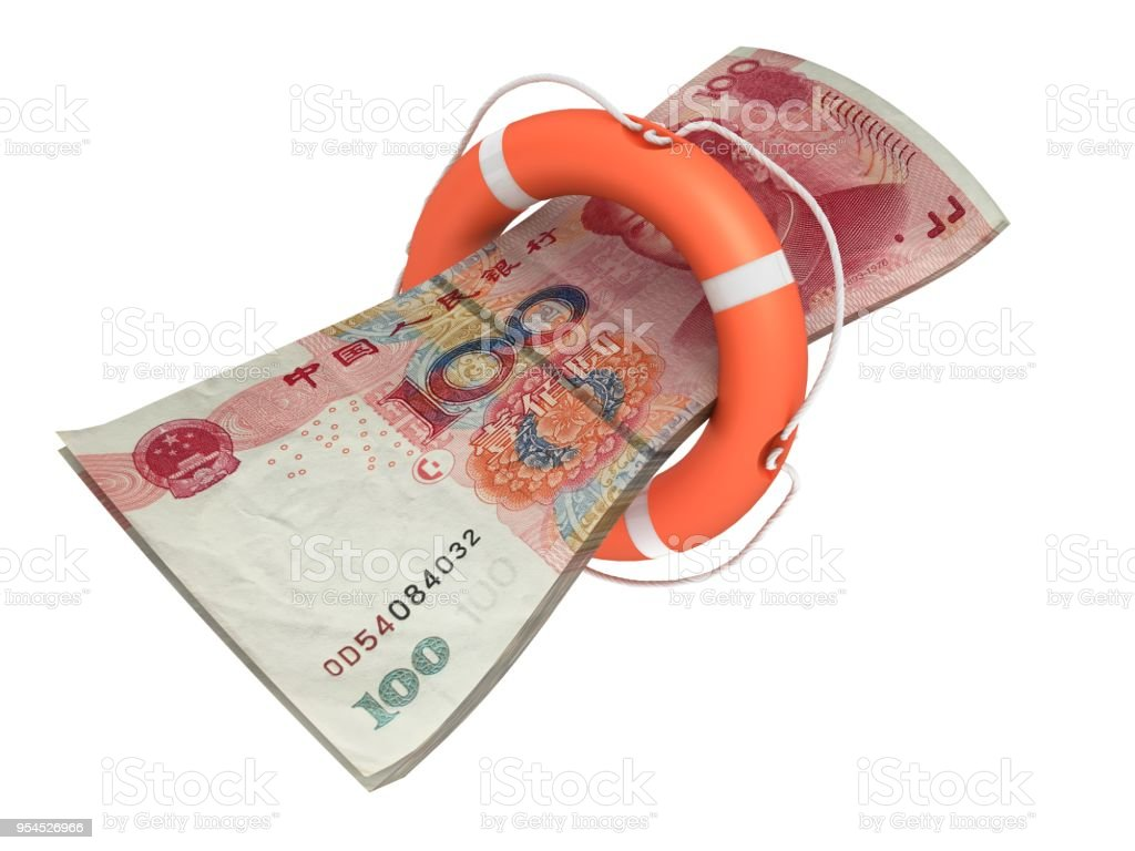 Chinese Yuan money help lifebelt stock photo