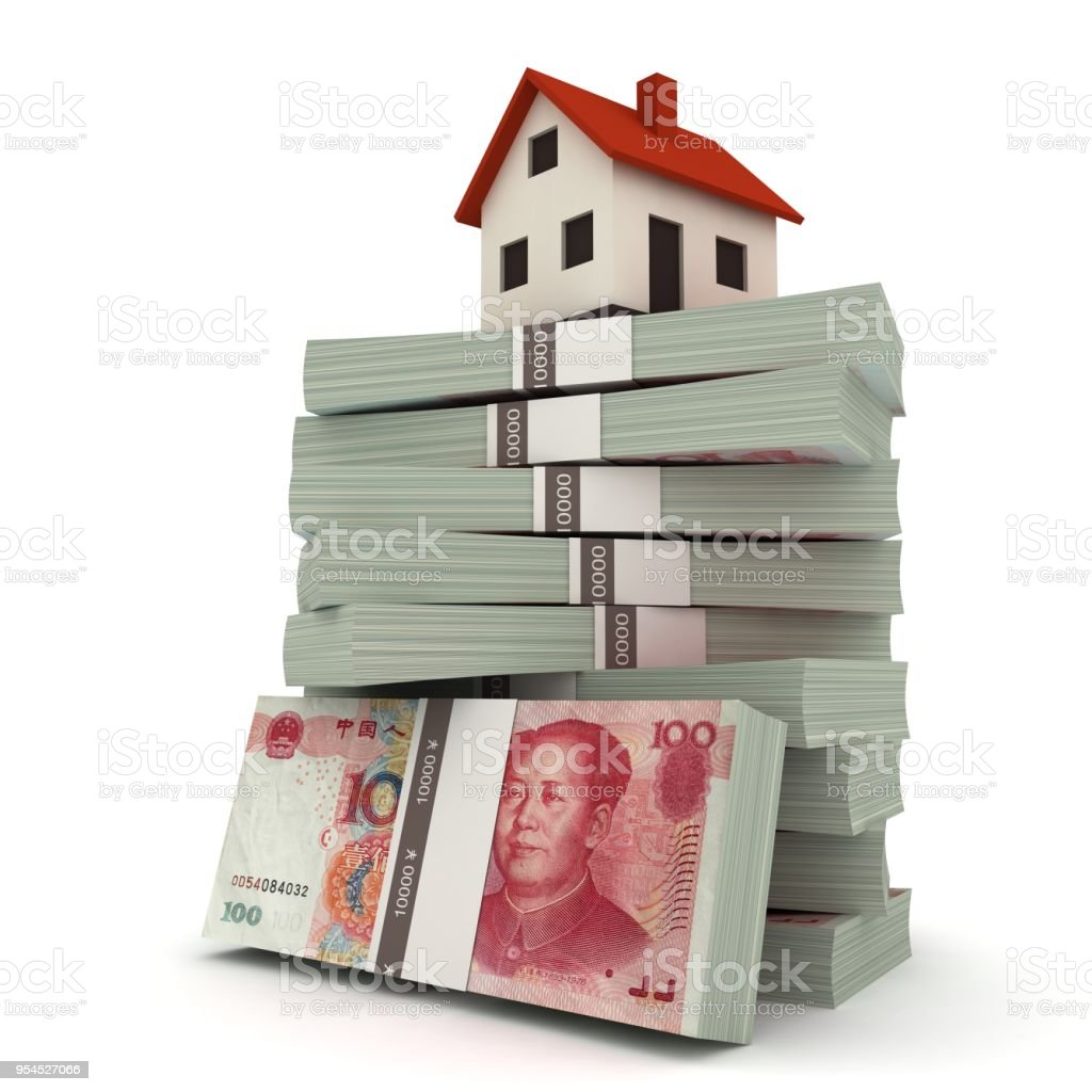 Chinese Yuan money real estate house stock photo