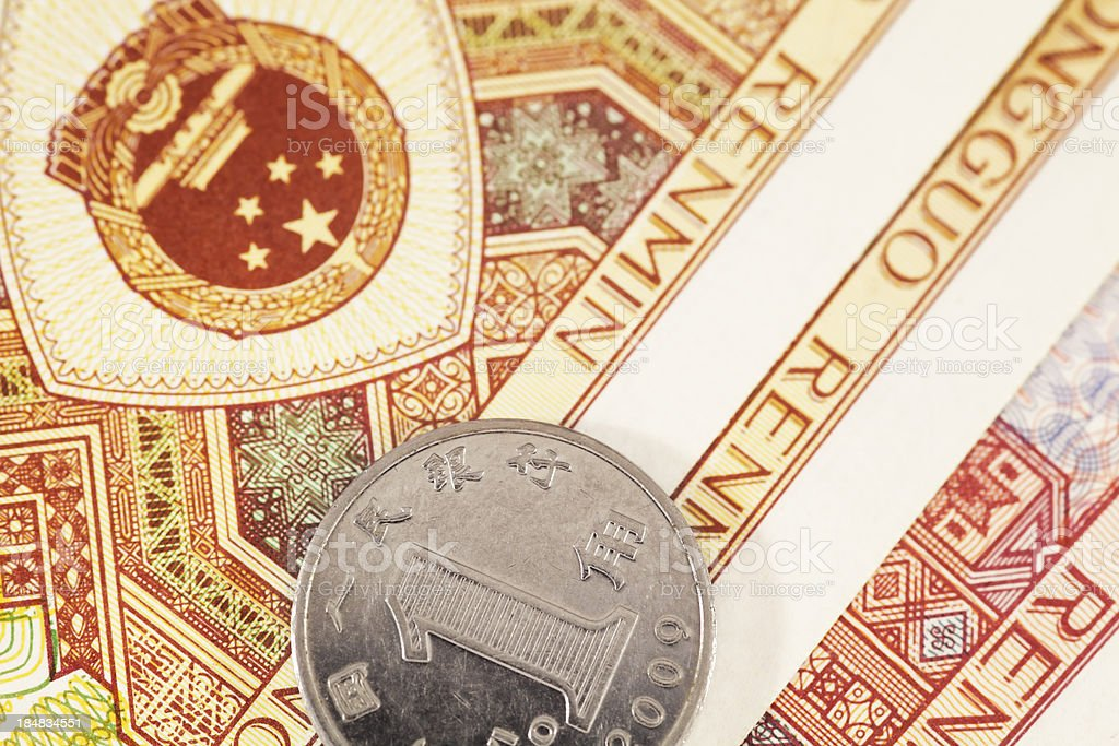 Chinese Yuan Note and a Coin (High Resolution Image) stock photo