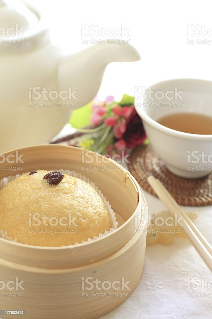 Chinese yum cha, Malay steamed cake in bamboo steamer royalty-free stock photo