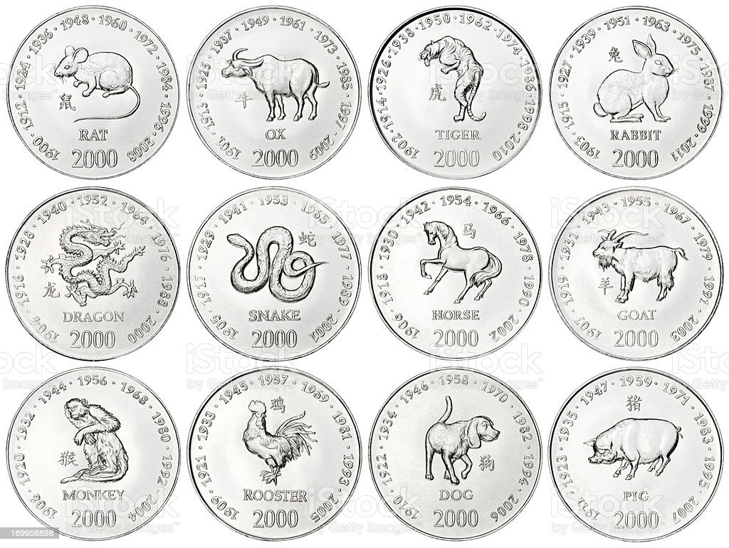 Chinese Zodiac coins on white background stock photo