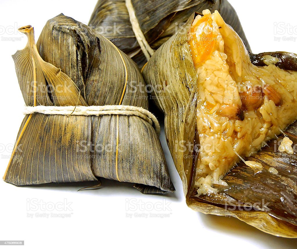 Chinese zongzi isolated on white for Dragon Boat Festival stock photo