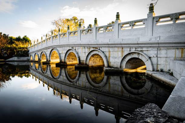 Chinese_gardens_bridge_light_effect stock photo