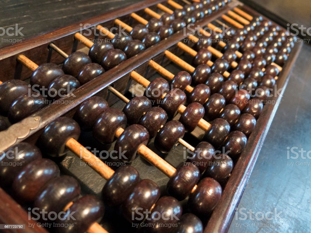 Chinese-style abacus stock photo