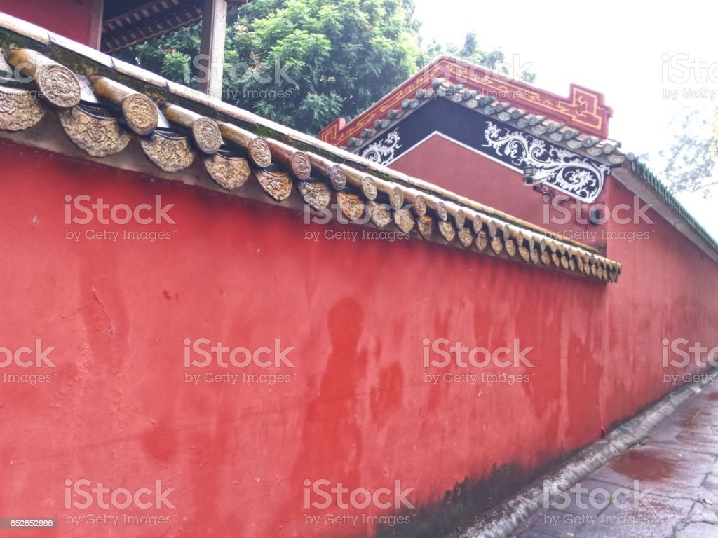 A Chinese-style red wall. stock photo