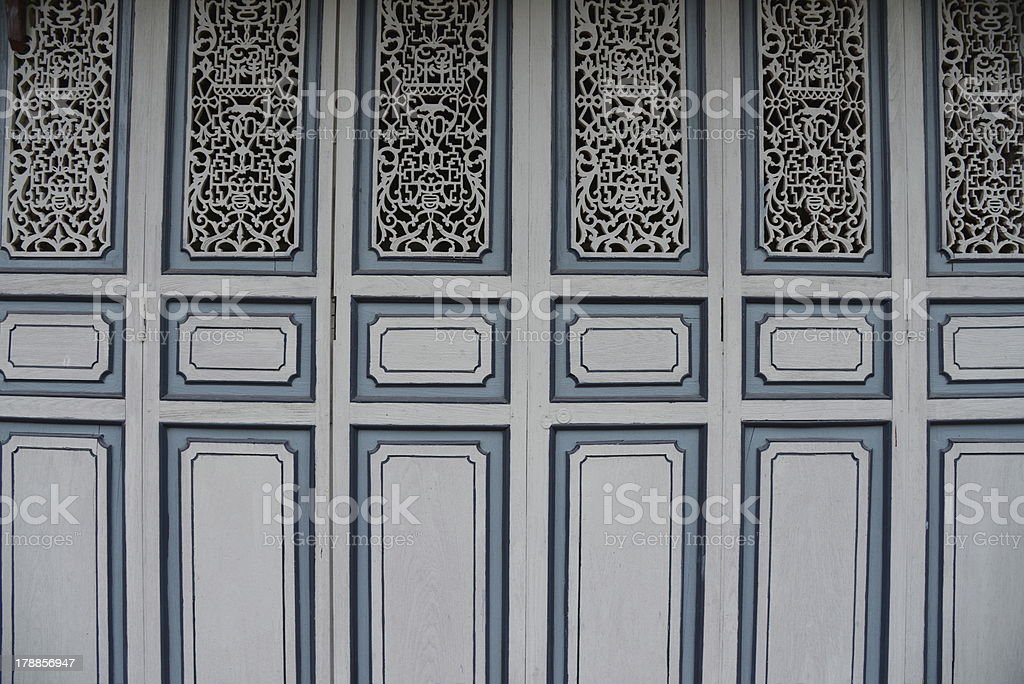 Chinoiserie Wood Blue Background royalty-free stock photo