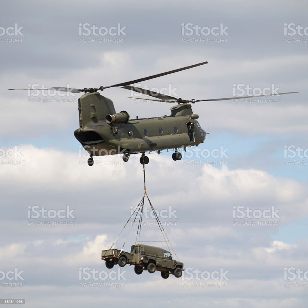 Chinook Carrying a Jeep stock photo