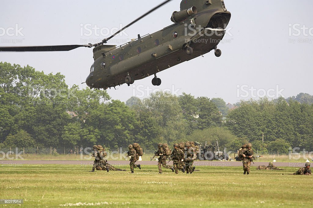 chinook helicopter airlifting troops stock photo