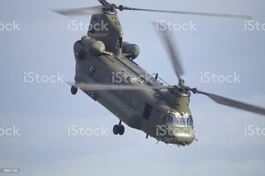 Chinook helicopter coming to get you stock photo