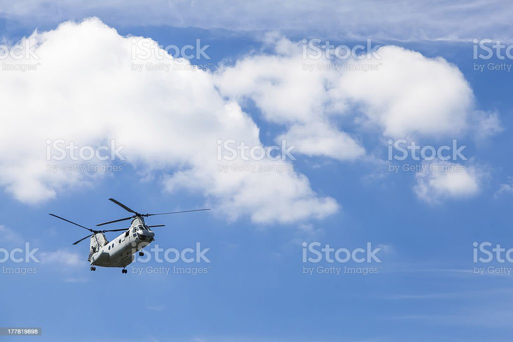 C-46 Chinook Helicopter Flying stock photo