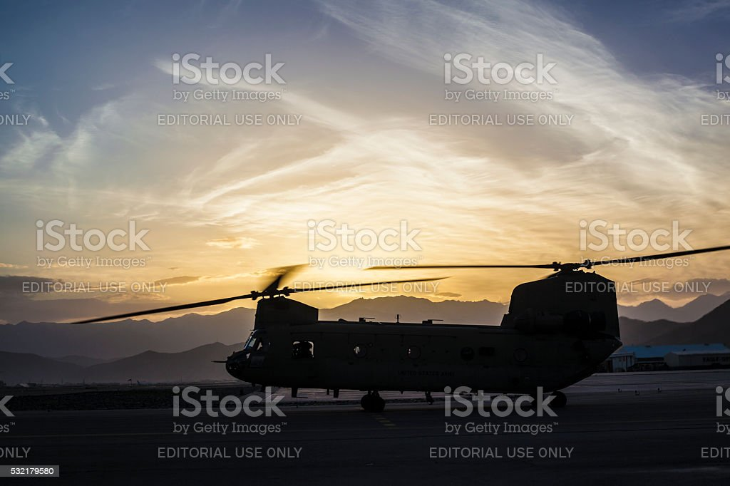 Chinook Helicopter Silhouette Sunrise stock photo