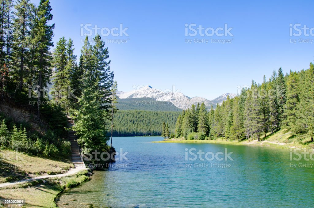 Chinook Lake  in the Crowsnest Pass,  Alberta stock photo