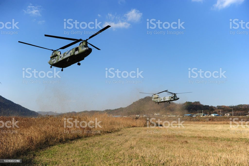 CH-46 Chinook Military helicopter flight stock photo