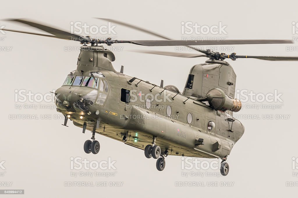 Chinook military transport helicopter stock photo