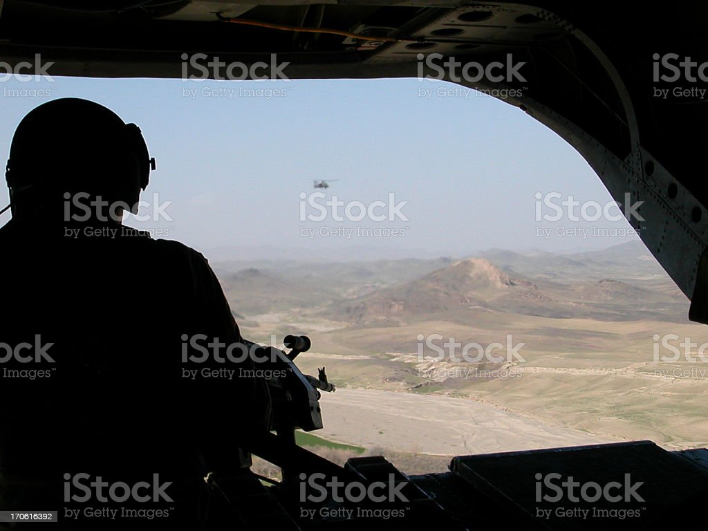 Chinook Over Afghanistan stock photo