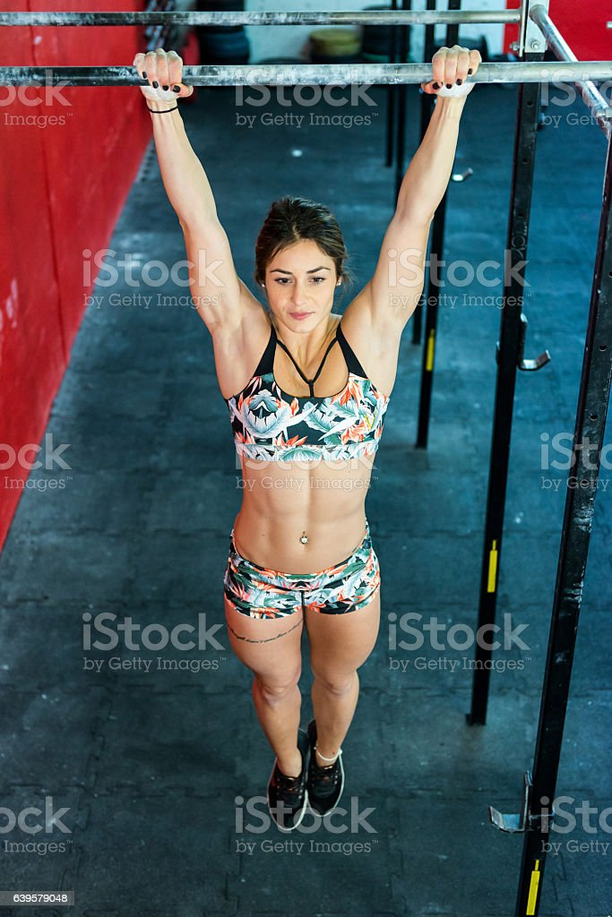 Chin-ups ! stock photo