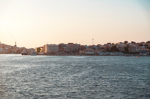Chios Island, Greece - August 1, 2019: Front view of Chios Island, Greece.