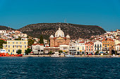 Chios Island, Greece - August 2, 2019: Front view of Chios Island, Greece.