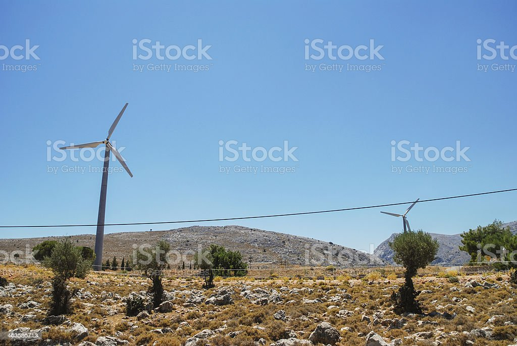 Chios mainland with windmill royalty-free stock photo