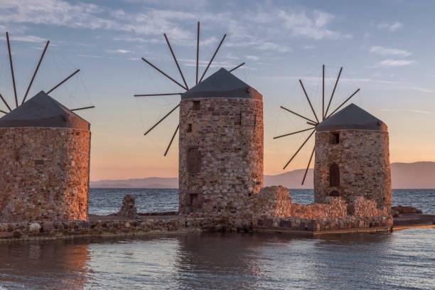 Chios windmills at sunrise stock photo