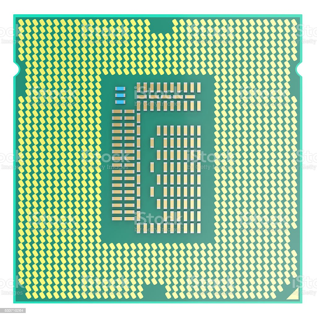 CPU chip, central processor unit, top view isolated on white stock photo