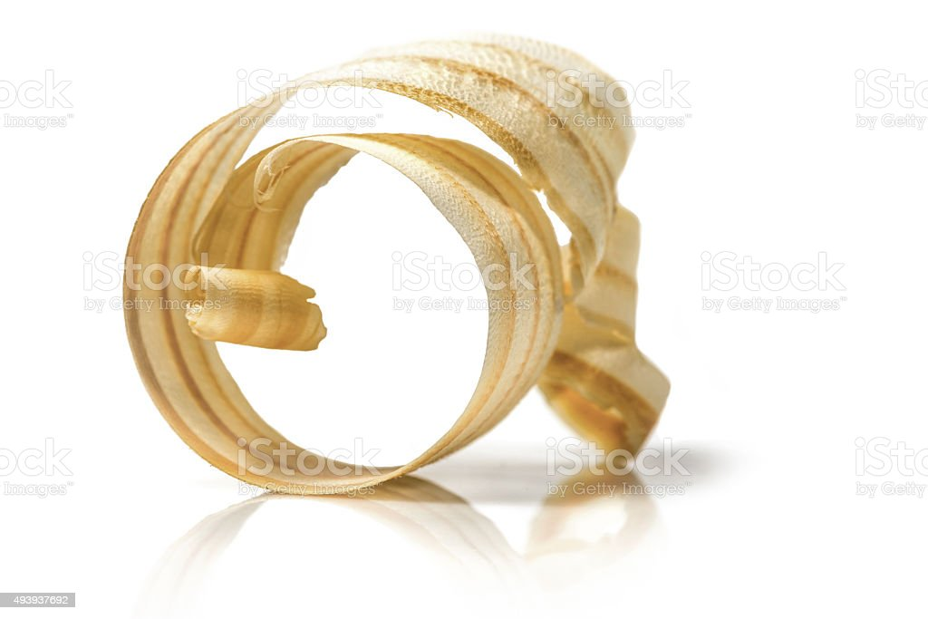 chip coiled or spiral wood (pine) shaving stock photo