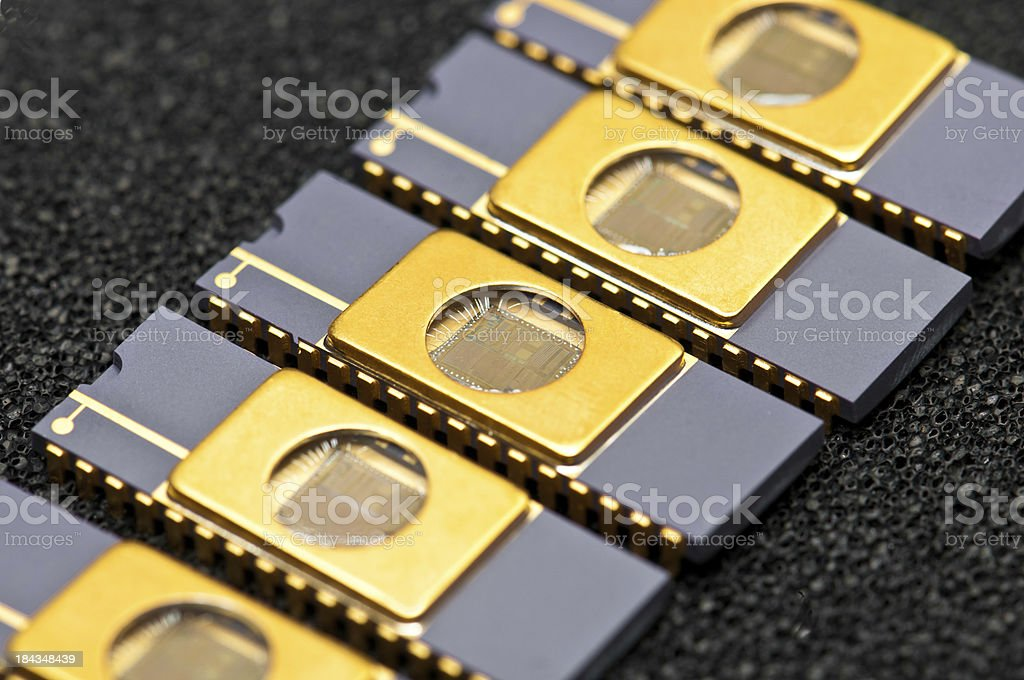 EPROM chip memories in a row royalty-free stock photo