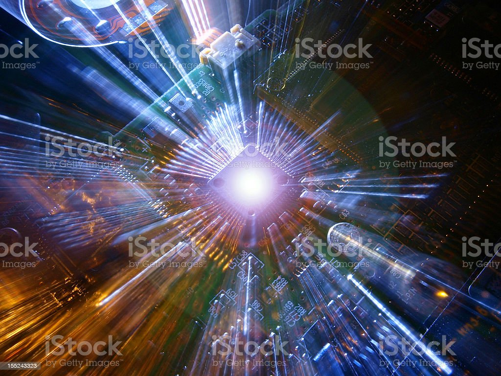 Chip on circuit board royalty-free stock photo