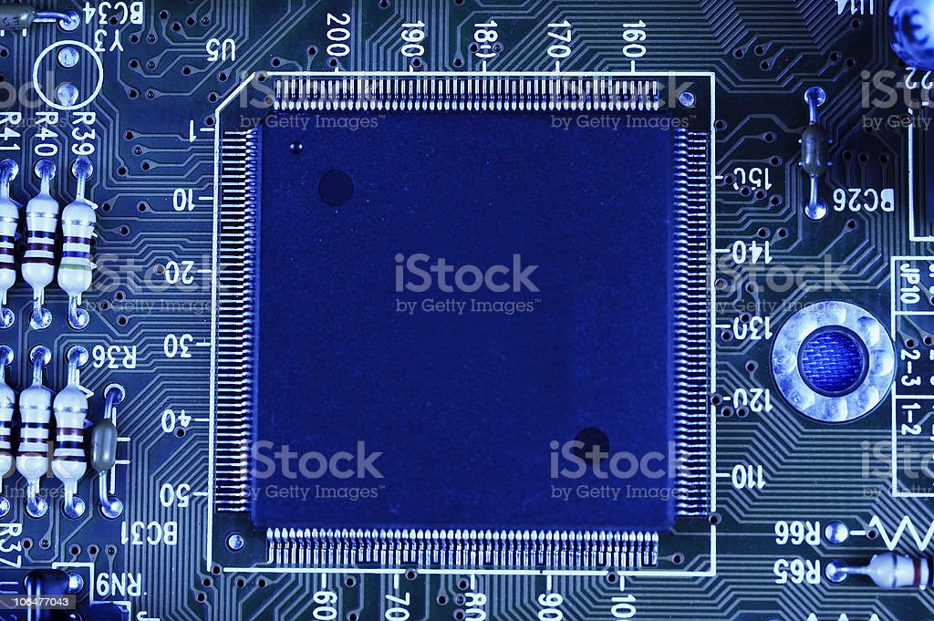 Chip on the circuit board royalty-free stock photo