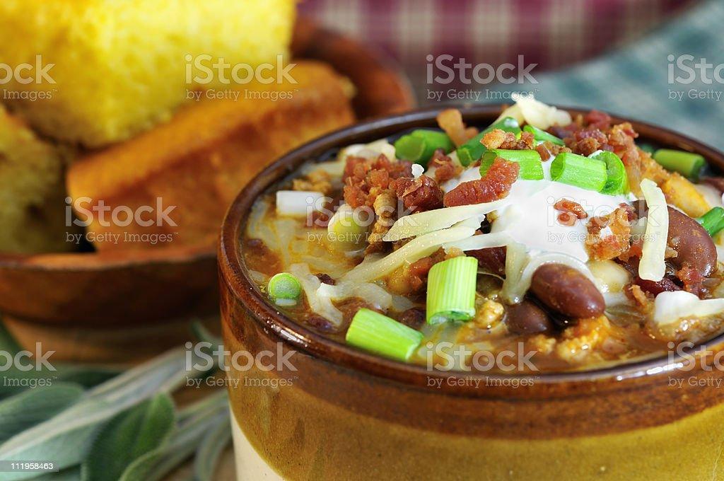 Chipolte Turkey Chili Close-up stock photo