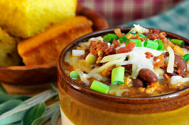 chipolte turkey chili close-up - mike cherim stock pictures, royalty-free photos & images