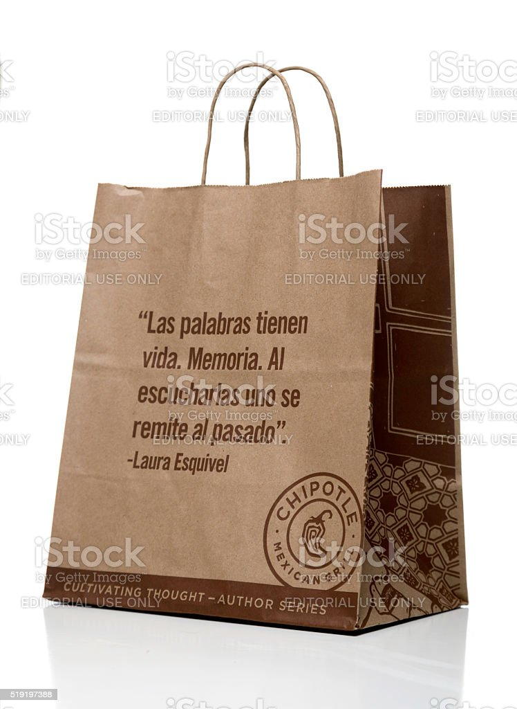 Chipotle Mexican Grill Paper Bag With Quote Side Stock Photo More