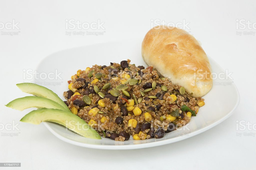 Chipotle quinoa with black beans and corn stock photo