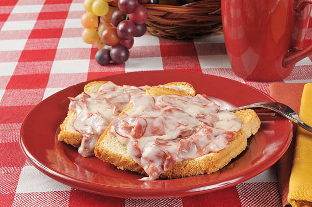 Chipped beef on toast stock photo