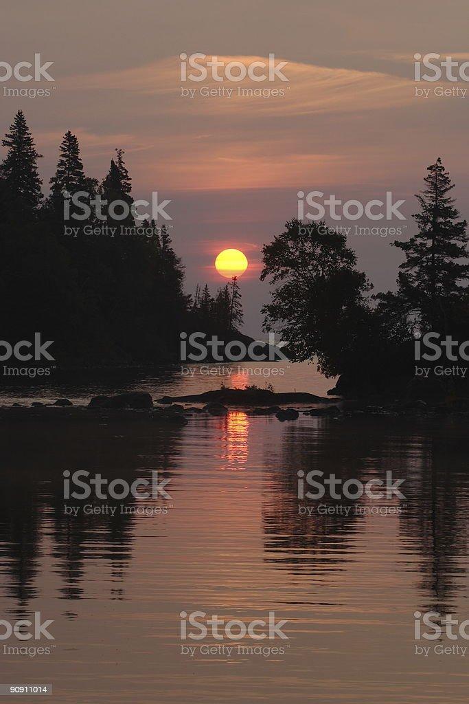 Chippewa Harbor Sunrise stock photo